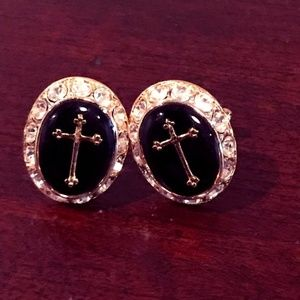 Large Cross cuff links with shiny clear stones